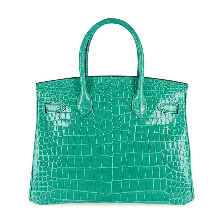 Hermes Birkin 30 Bag Jade Porosus Crocodile Palladium Hardware New w/Box For Sale 4