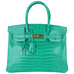 Hermes Birkin 30 Bag Jade Porosus Crocodile Palladium Hardware New w/Box