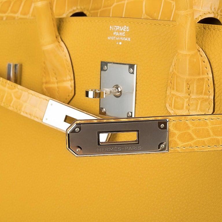 Orange Hermes Birkin 30 Bag Jaune Ambre Touch Crocodile / Togo Palladium Hardware For Sale