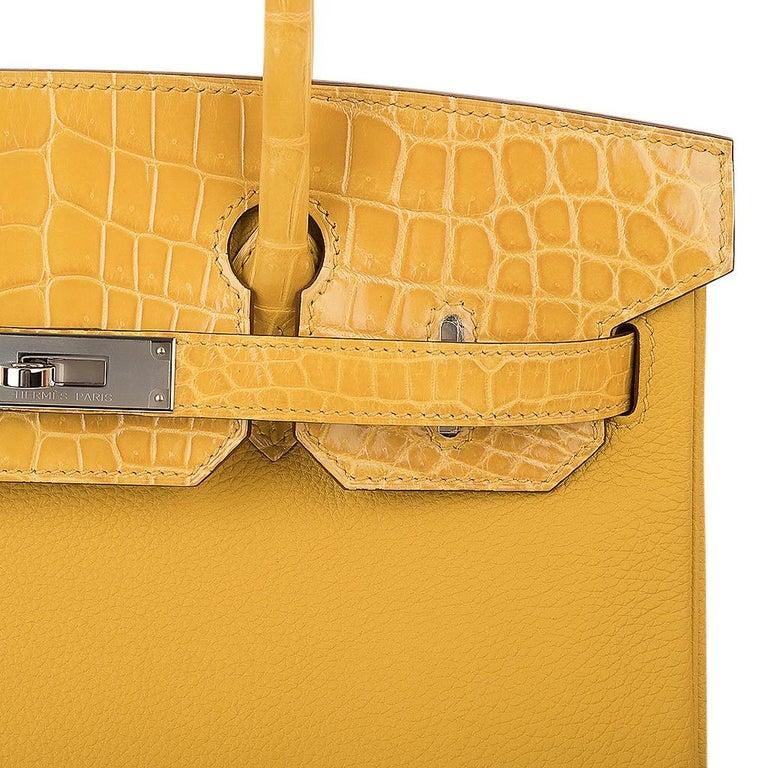 Hermes Birkin 30 Bag Jaune Ambre Touch Crocodile / Togo Palladium Hardware In New Condition For Sale In Miami, FL