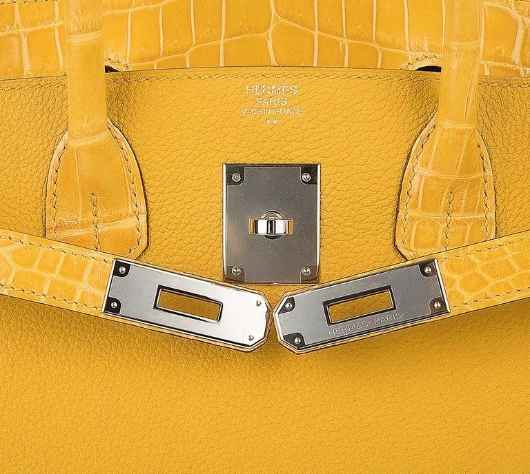 Women's Hermes Birkin 30 Bag Jaune Ambre Touch Crocodile / Togo Palladium Hardware For Sale