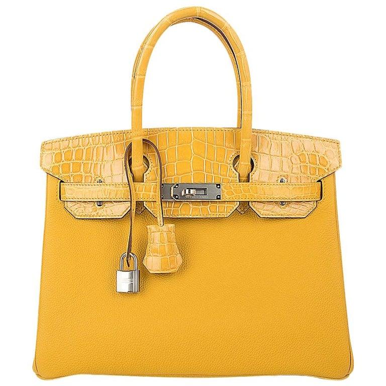 Hermes Birkin 30 Bag Jaune Ambre Touch Crocodile / Togo Palladium Hardware For Sale