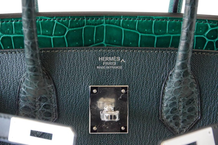 Hermes Birkin 30 Bag Limited Edition Patchwork Emerald Green Crocodile Accent In New never worn Condition For Sale In Miami, FL