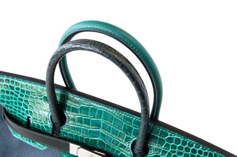 Hermes Birkin 30 Bag Limited Edition Camouflage Emerald Green Crocodile 3