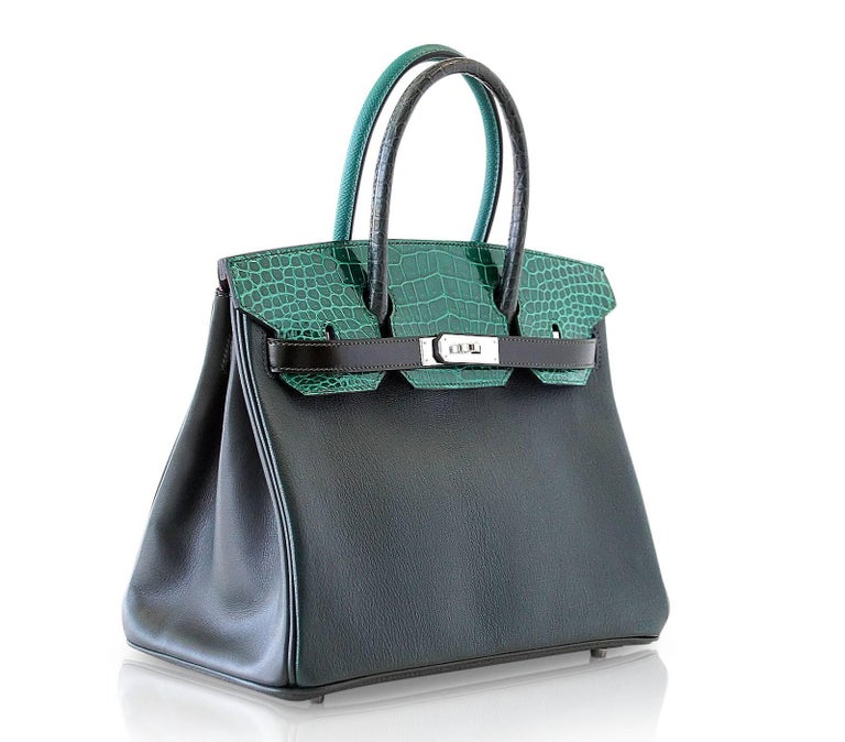 Hermes Birkin 30 Bag Limited Edition Patchwork Emerald Green Crocodile Accent For Sale 3