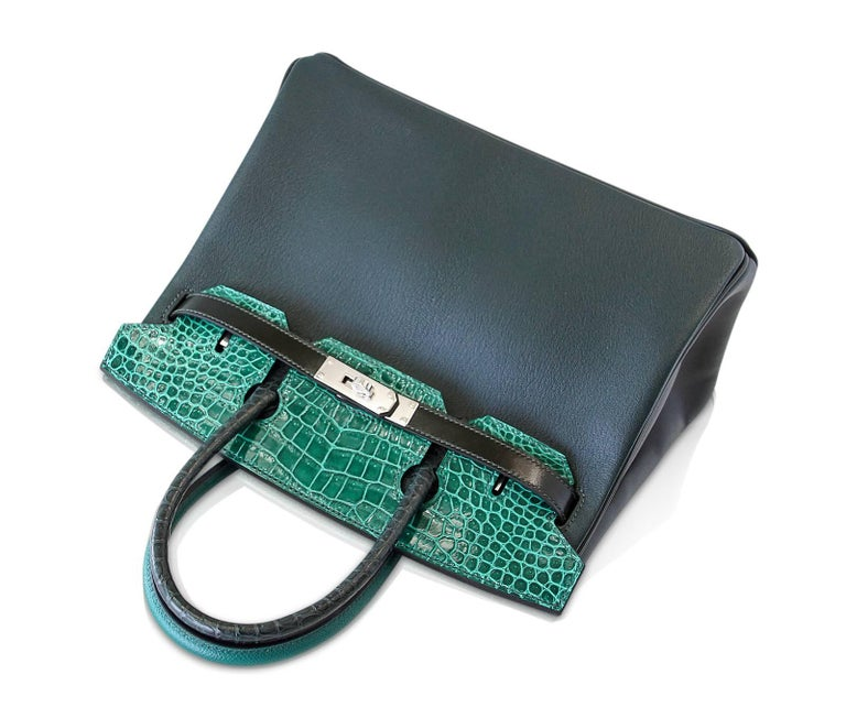 Hermes Birkin 30 Bag Limited Edition Patchwork Emerald Green Crocodile Accent For Sale 4