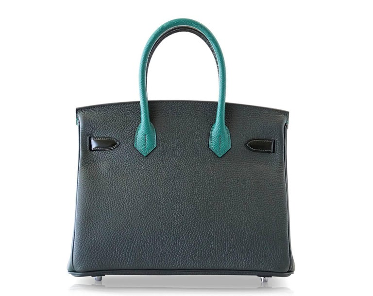 Hermes Birkin 30 Bag Limited Edition Patchwork Emerald Green Crocodile Accent For Sale 5