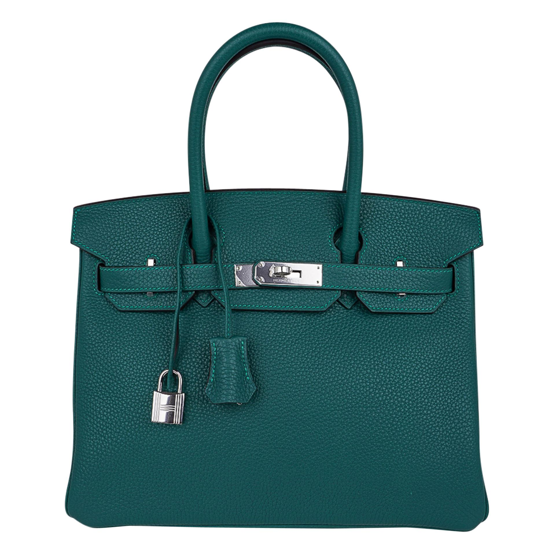 Hermes Birkin 30 Bag Malachite Exotic Emerald Toned Green Clemence Palladium