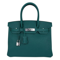 Hermes Birkin 30 Bag Malachite Exotic Emerald Toned Green Clemence Palladium