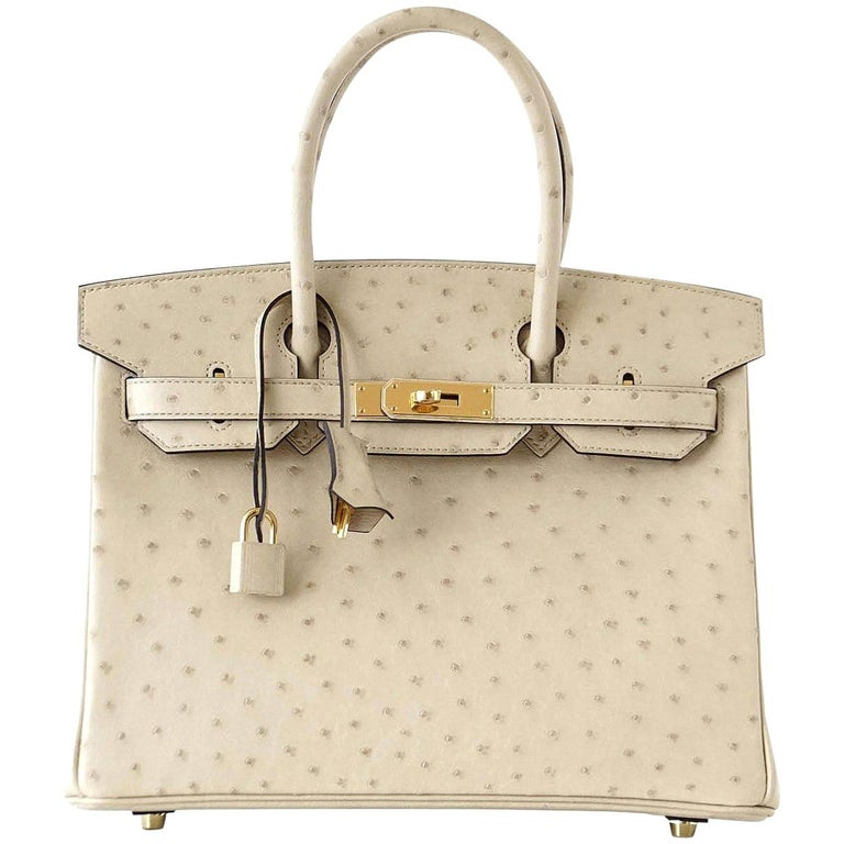 Hermes Birkin 30 Bag Parchemin Gold Hardware Perfect Year Round Neutral For Sale