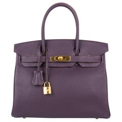 Hermes Birkin 30 Bag Raisin Gold Hardware Rich Original Colour Togo New w/Box