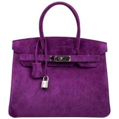 Hermes Birkin 30 Tasche selten Doblis Violet Palladium Beschläge