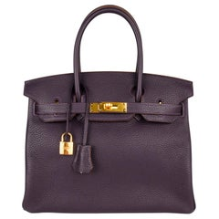 Hermes Birkin 30 Bag Rich Raisin Gold Hardware Original Colour Togo