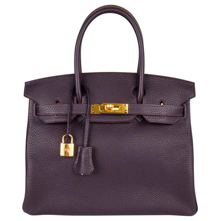 Hermes Birkin 30 Bag Rich Raisin Gold Hardware Original Colour Togo  For Sale