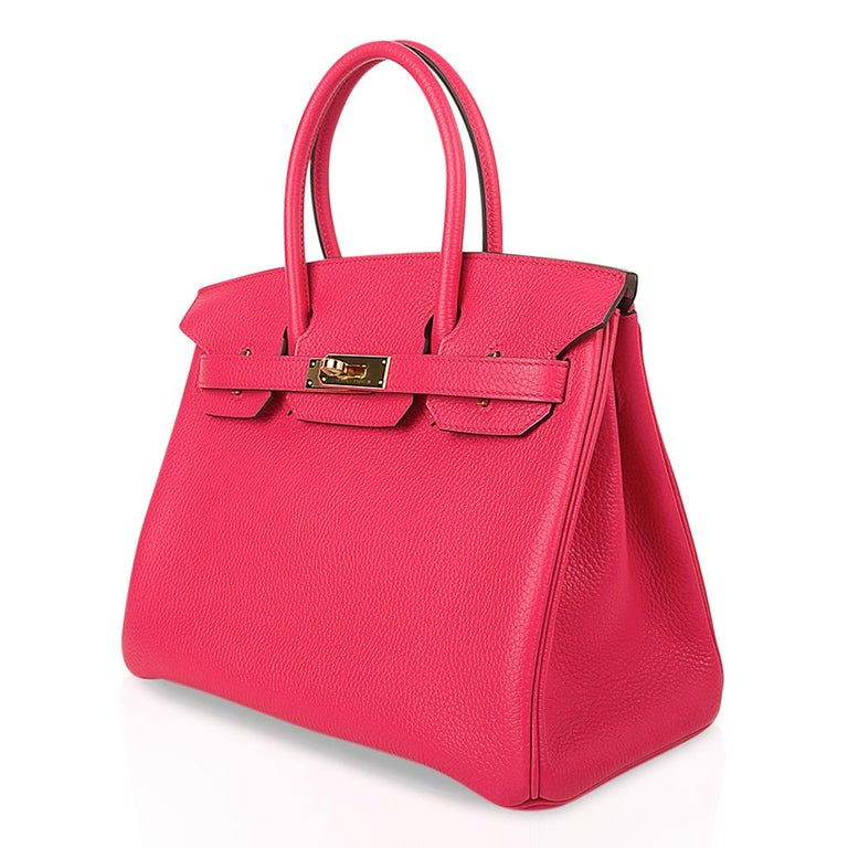 Hermes Birkin 30 Bag Rose Extreme Gold Hardware Clemence Leather  For Sale 2