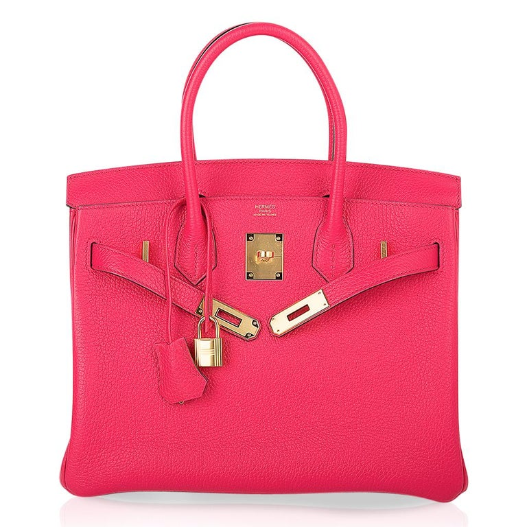 Hermes Birkin 30 Bag Rose Extreme Gold Hardware Clemence Leather  For Sale 3
