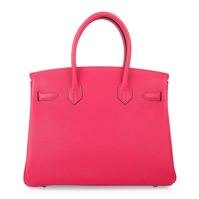 Hermes Birkin 30 Bag Rose Extreme Gold Hardware Clemence Leather  For Sale 4