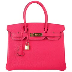 Hermes Birkin 30 Bag Rose Extreme Gold Hardware Clemence Leather