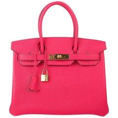 Hermes Birkin 30 Bag Rose Extreme Gold Hardware Clemence Leather