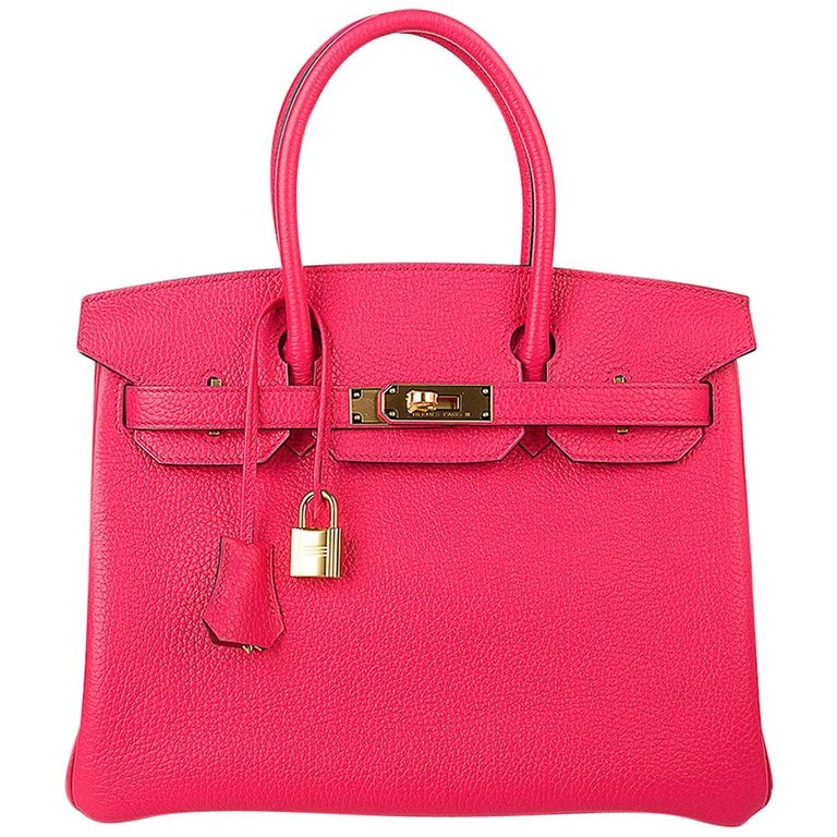 Hermes Birkin 30 Bag Rose Extreme Gold Hardware Clemence Leather  For Sale