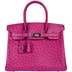 Hermes Birkin 30 Bag Rose Poupre Pink Ostrich Palladium Hardware