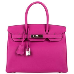 Hermes Birkin 30 Bag Rose Pourpre Pink Togo Palladium