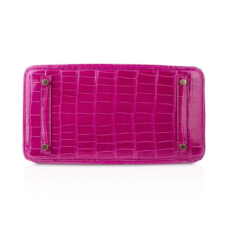 Hermes Birkin 30 Bag Rose Scheherazade Pink Crocodile Gold Hardware For Sale 5