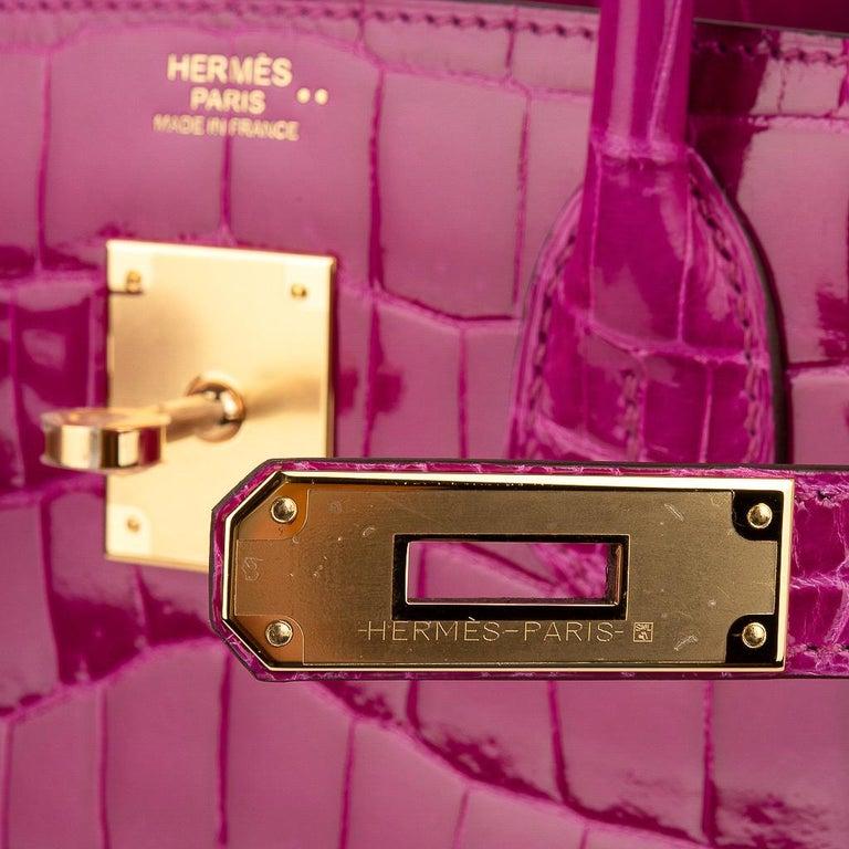 Purple Hermes Birkin 30 Bag Rose Scheherazade Pink Crocodile Gold Hardware For Sale