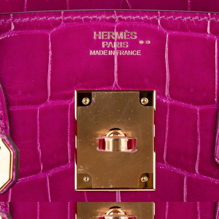 Hermes Birkin 30 Bag Rose Scheherazade Pink Crocodile Gold Hardware In New Condition For Sale In Miami, FL