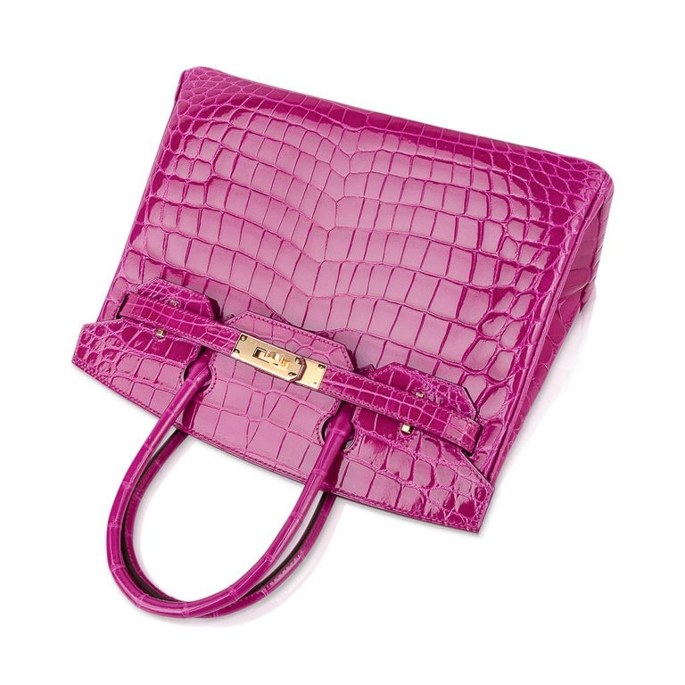 Hermes Birkin 30 Bag Rose Scheherazade Pink Crocodile Gold Hardware For Sale 1