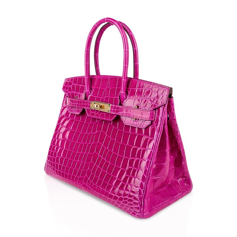 Hermes Birkin 30 Bag Rose Scheherazade Pink Crocodile Gold Hardware For Sale 2