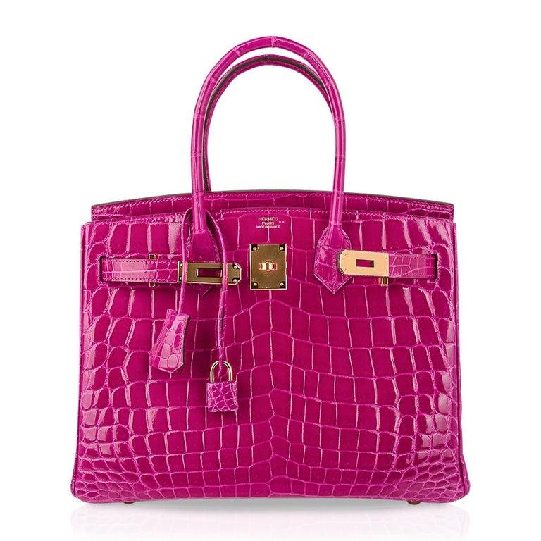 Hermes Birkin 30 Bag Rose Scheherazade Pink Crocodile Gold Hardware For Sale 3