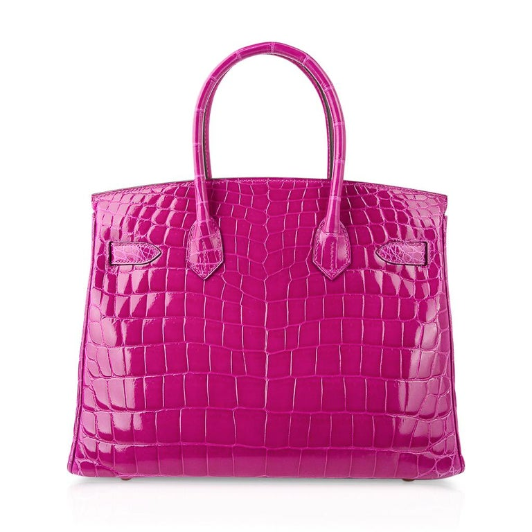 Hermes Birkin 30 Bag Rose Scheherazade Pink Crocodile Gold Hardware For Sale 4