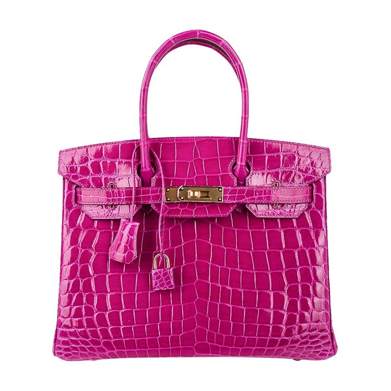 Hermes Birkin 30 Bag Rose Scheherazade Pink Crocodile Gold Hardware For Sale