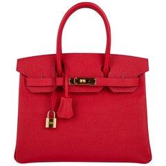 Hermes Birkin 30 Bag Rouge Casaque Epsom Gold Hardware New w/ Box