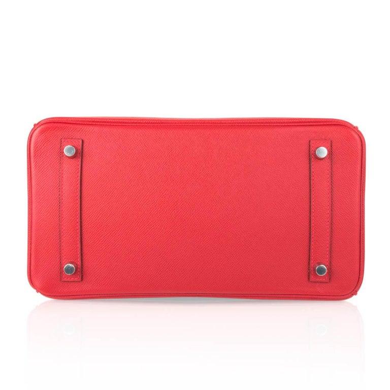 Hermes Birkin 30 Bag Rouge Casaque Epsom Palladium Hardware For Sale 5