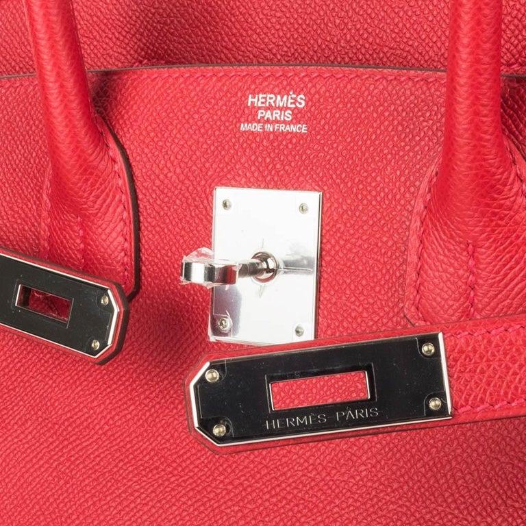 Red Hermes Birkin 30 Bag Rouge Casaque Epsom Palladium Hardware For Sale