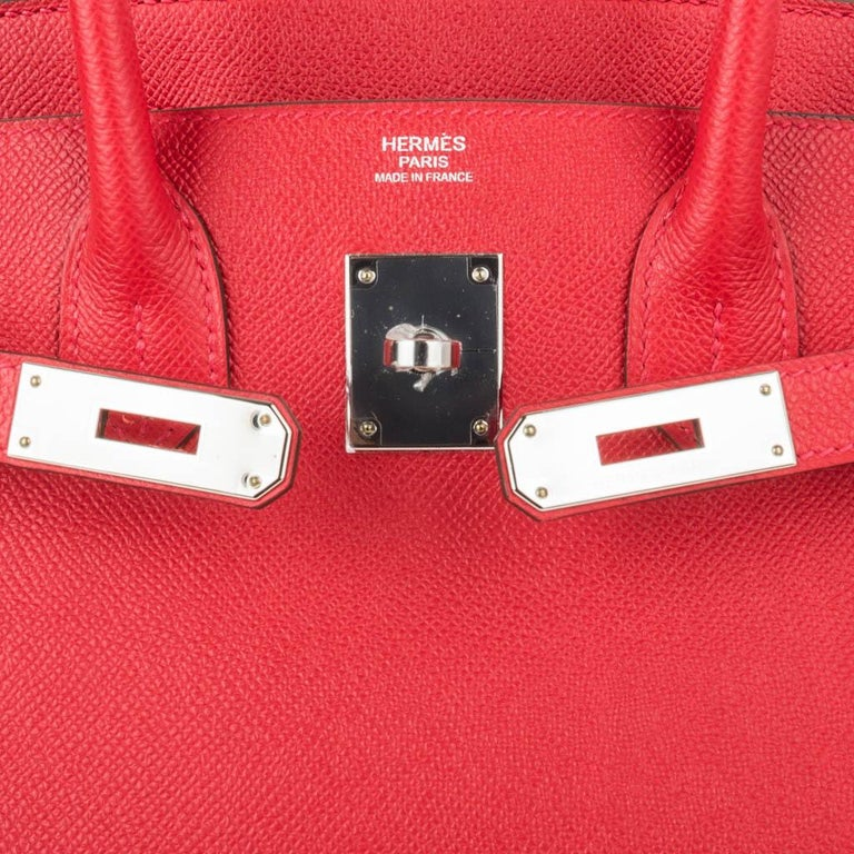 Hermes Birkin 30 Bag Rouge Casaque Epsom Palladium Hardware In New Condition For Sale In Miami, FL
