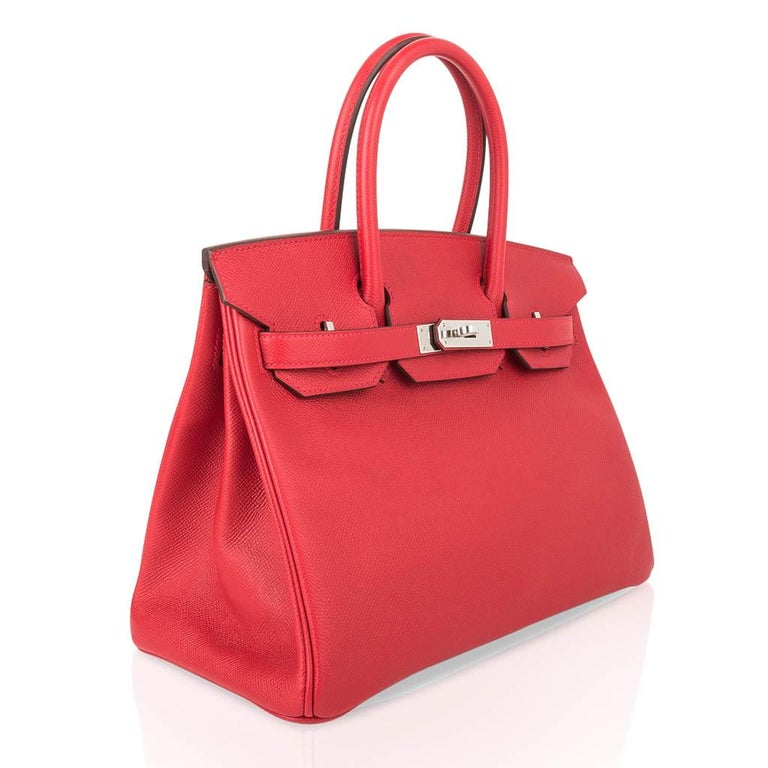 Women's Hermes Birkin 30 Bag Rouge Casaque Epsom Palladium Hardware For Sale