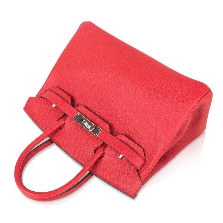 Hermes Birkin 30 Bag Rouge Casaque Epsom Palladium Hardware For Sale 1
