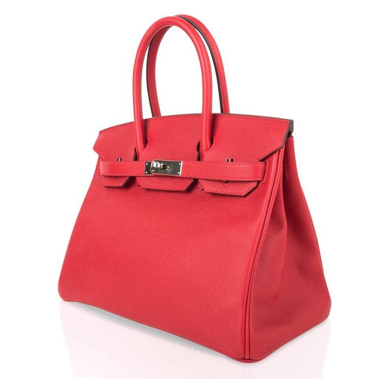 Hermes Birkin 30 Bag Rouge Casaque Epsom Palladium Hardware For Sale 2