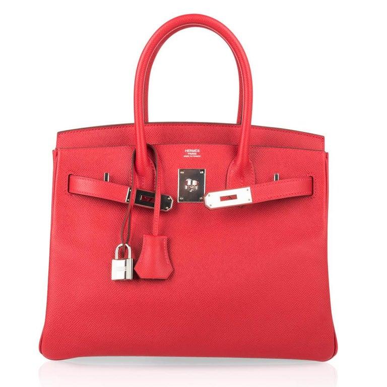 Hermes Birkin 30 Bag Rouge Casaque Epsom Palladium Hardware For Sale 3