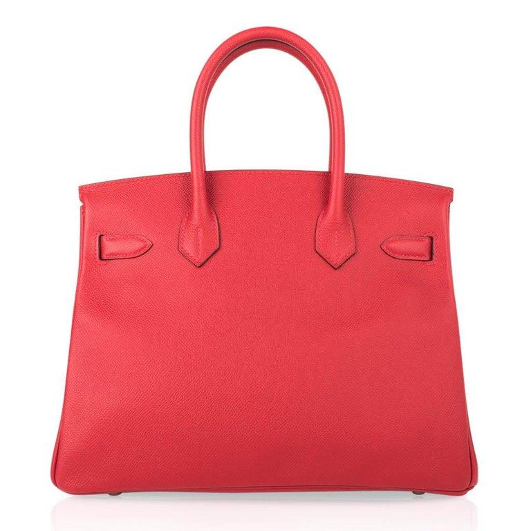 Hermes Birkin 30 Bag Rouge Casaque Epsom Palladium Hardware For Sale 4
