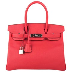 Hermes Birkin 30 Bag Rouge Casaque Epsom Palladium Hardware