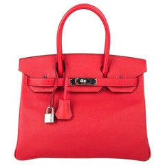 Hermes Birkin 30 Bag Rouge Casaque Epsom Palladium Hardware