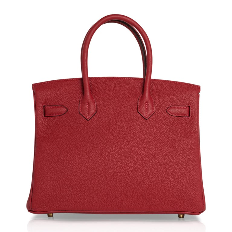 Hermes Birkin 30 Bag Rouge Vif Togo Gold Hardware Perfect Lipstick Red For Sale 6
