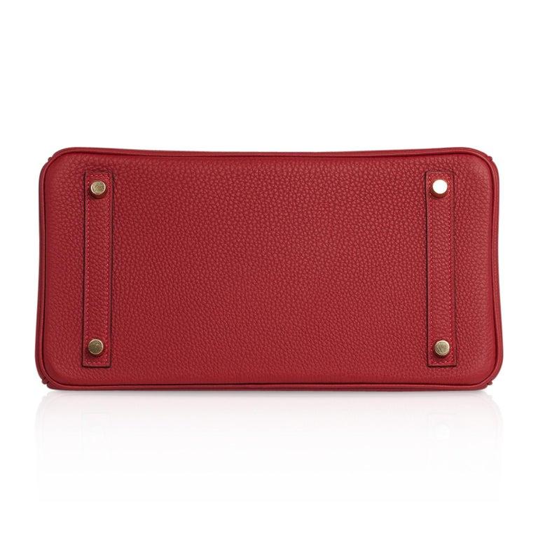 Hermes Birkin 30 Bag Rouge Vif Togo Gold Hardware Perfect Lipstick Red For Sale 7