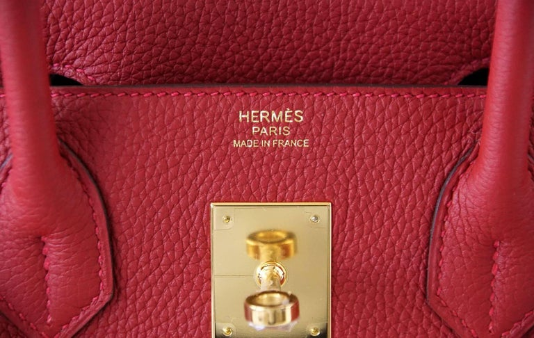 Hermes Birkin 30 Bag Rouge Vif Togo Gold Hardware Perfect Lipstick Red In New Condition For Sale In Miami, FL