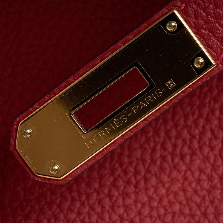 Women's Hermes Birkin 30 Bag Rouge Vif Togo Gold Hardware Perfect Lipstick Red For Sale