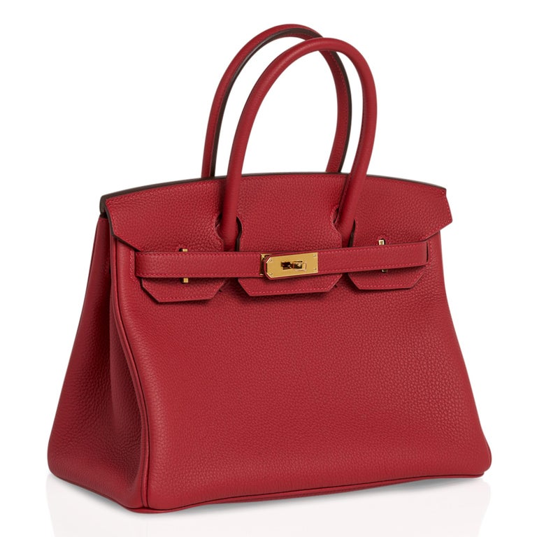 Hermes Birkin 30 Bag Rouge Vif Togo Gold Hardware Perfect Lipstick Red For Sale 1